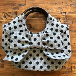 Kate spade ♠️ gray black polka dot handbag